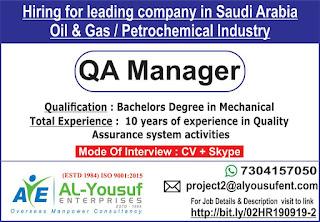 QA Manager Hiring for Saudi Arabia