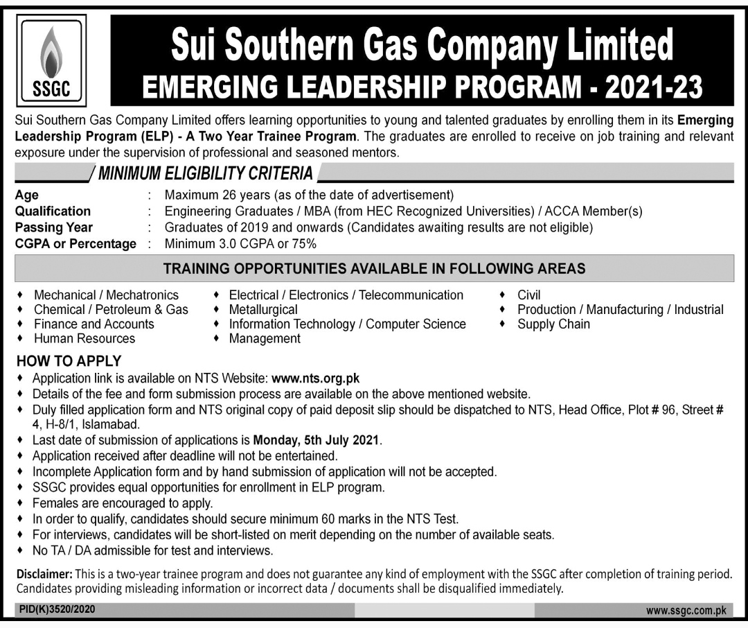 Sui Southern Gas Company Limited SSGC Emerging Leadership Program ELP Via NTS 2021 For Engineers