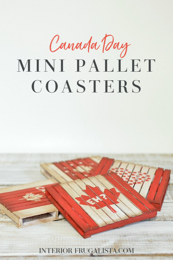 How to make fun patriotic miniature pallet drink coasters with popsicle sticks. A fun Canada Day or 4th of July craft idea to do with older children. #canadadaydecor #canadadaycraft #diycoasters