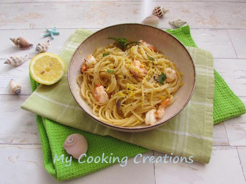 Лимонени спагети със скариди * Spaghetti al limone e gamberi
