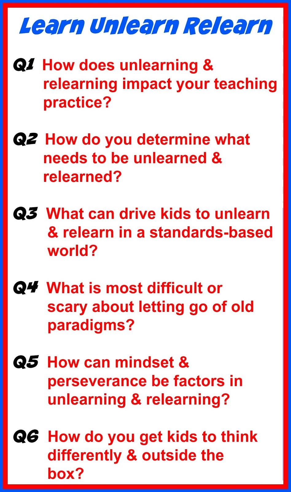 Mapping the learn‐unlearn‐relearn model | Imperatives for ...