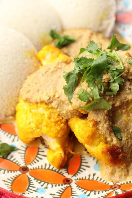 chou fleur curcuma sauce curry noix