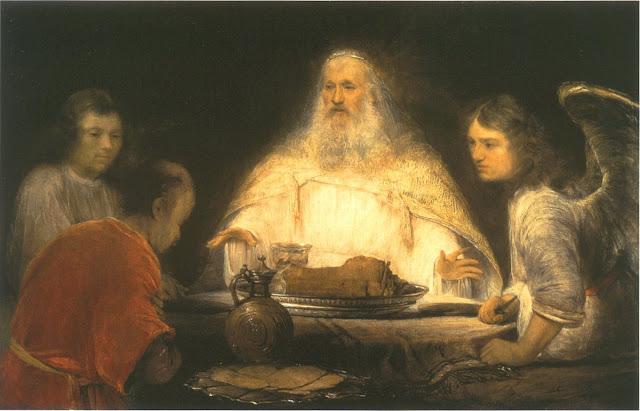 Abraham et les trois anges par Olieverf op doek