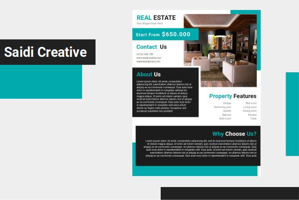 Free Real Estate Flyer Template MS. Word Document Fully Editable File
