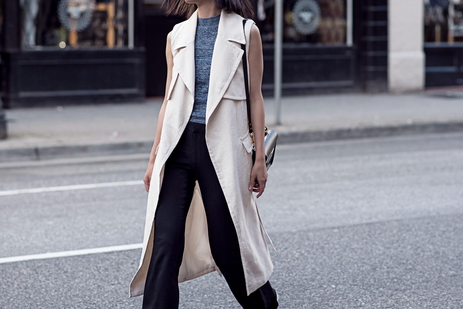 von vogue hm sleeveless trench coat