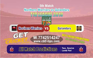 Who will win Today T10 2019, 6th Match Qalandars vs Warriors 6th, 100% Sure Prediction