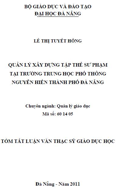 Quản lý xây dựng tập thể sư phạm tại trường trung học phổ thông Nguyễn Hiền thành phố Đà Nẵng