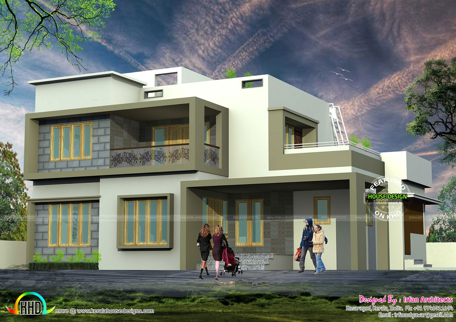 Very simple modern house architecture kerala home design for Simple contemporary house