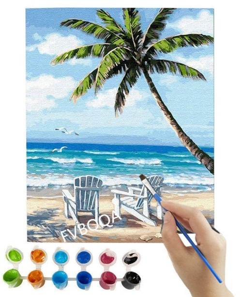 Paradise Beach Paint by Number Kit DIY
