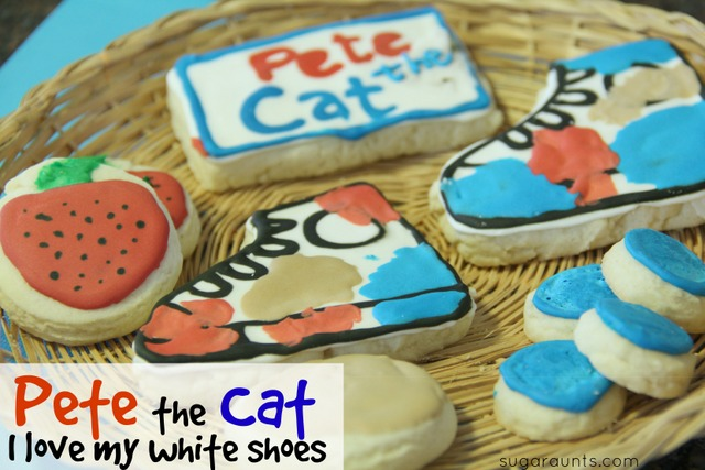 Make and decorate sugar cookies with the kids.  Activity based on the book, Pete the Cat i Love My White Shoes