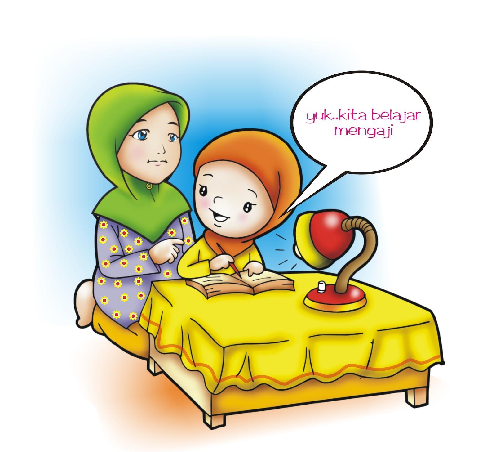 Gambar Animasi Anak Muslim Belajar - HijabFest
