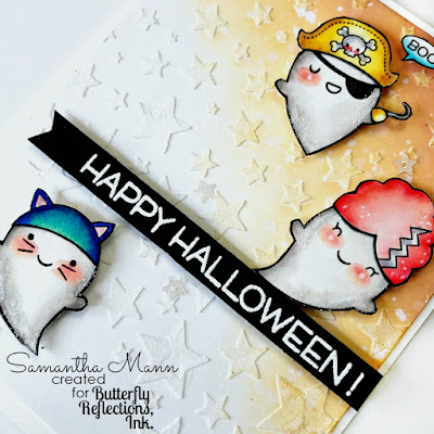 Boo-yah Halloween Card by Samantha Mann, Lawn Fawn, ghosts, costumes, halloween, cards, card making, embossing paste, stencil, glitter #lawnfawn #halloweencard #halloween #ghosts #costumes #zigmarkers