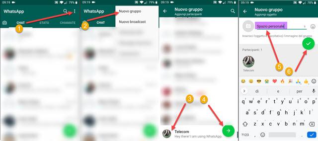 creazione di un gruppo whatsapp