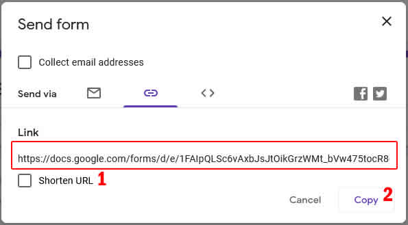 send form melalui link
