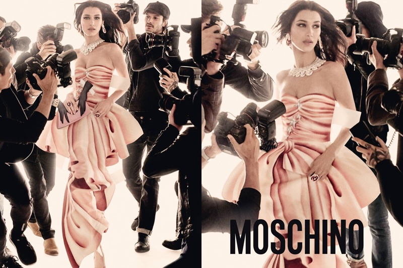 Bella Hadid appears in Moschino's spring 2017 campaign