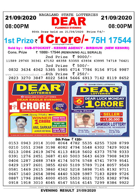Lottery Sambad Result 21.09.2020 Dear Flamingo Evening 8:00 pm