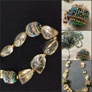 Topaz necklace. beaded beads