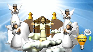 Jesus nas nuvens rodeado de anjos