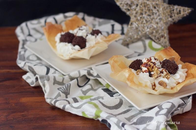 Canastillas de pasta philo con trufas Maheso