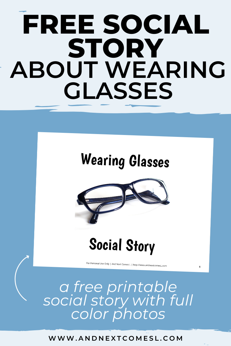 Free printable social story for kids with autism about wearing glasses