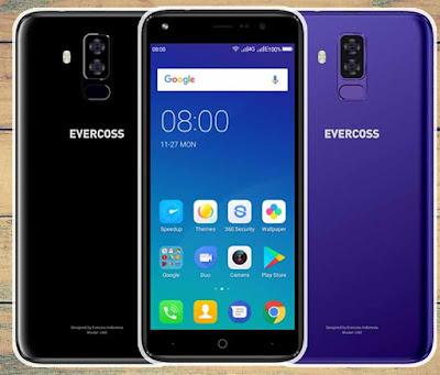 Spesifikasi Evercoss U60        Untuk bagian depannya Evercoss U60 ini hadir dengan menyematkan Full Screen Display dengan lebar layar sebesar 5,7 ichi 2.5 D menggunakan teknologi IPS dengan resolusi layar HD membuat penggunanya nanti akan merasa nyaman ketika digunakan untuk menonton video ataupun bermain game.     Sementara untuk Sistem Operasinya Evercoss masih menggunakan OS Android versi 7.0 Nougat yang di tenagai oleh Processor Spreadtrum SC7731 dengan kecepatan 1.3Ghz dengan distabilkan oleh GPU Mali T400 sebagai pengatur grafis.     Sistem penyimpanannya Evercoss U60 sendiri mempunyai RAM sebesar 1 GB serta penyimpanan media internal sebesar 8 GB dan dapat di upgrade menggunakan slot MicroSD sampai sebesar 64 GB. Meskipun harga yang diwarkan ini cukup ramah di kantong, Evercoss U60 ini sudah dipersenjatai oleh dual kamera di bagian belakang yang masing - masing beresolusi sebesar 8 MP & 2 MP lengkap dengan fitur Autofocus serta LED Flash. Untuk bagian kamera depannya sendiri Evercoss U60 mempunyai kamera depan sebesar 8 MP yang sudah dilengkapi LED Flash. Evercoss U60 dibekali Baterai sebesar 3200mAh.  Kelebihan  Tampil kekinian dengan efek ratio mencapai 18:9 yang menjadi desain paling kece saat ini.  Berselancar didunia maya tanpa lelet dengan konektifitas 4G – LTE Cat 4 yang memiliki kecepatan mencapai 150/50 Mbps.