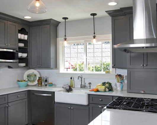 5 Charming Grey Kitchen Cabinets With