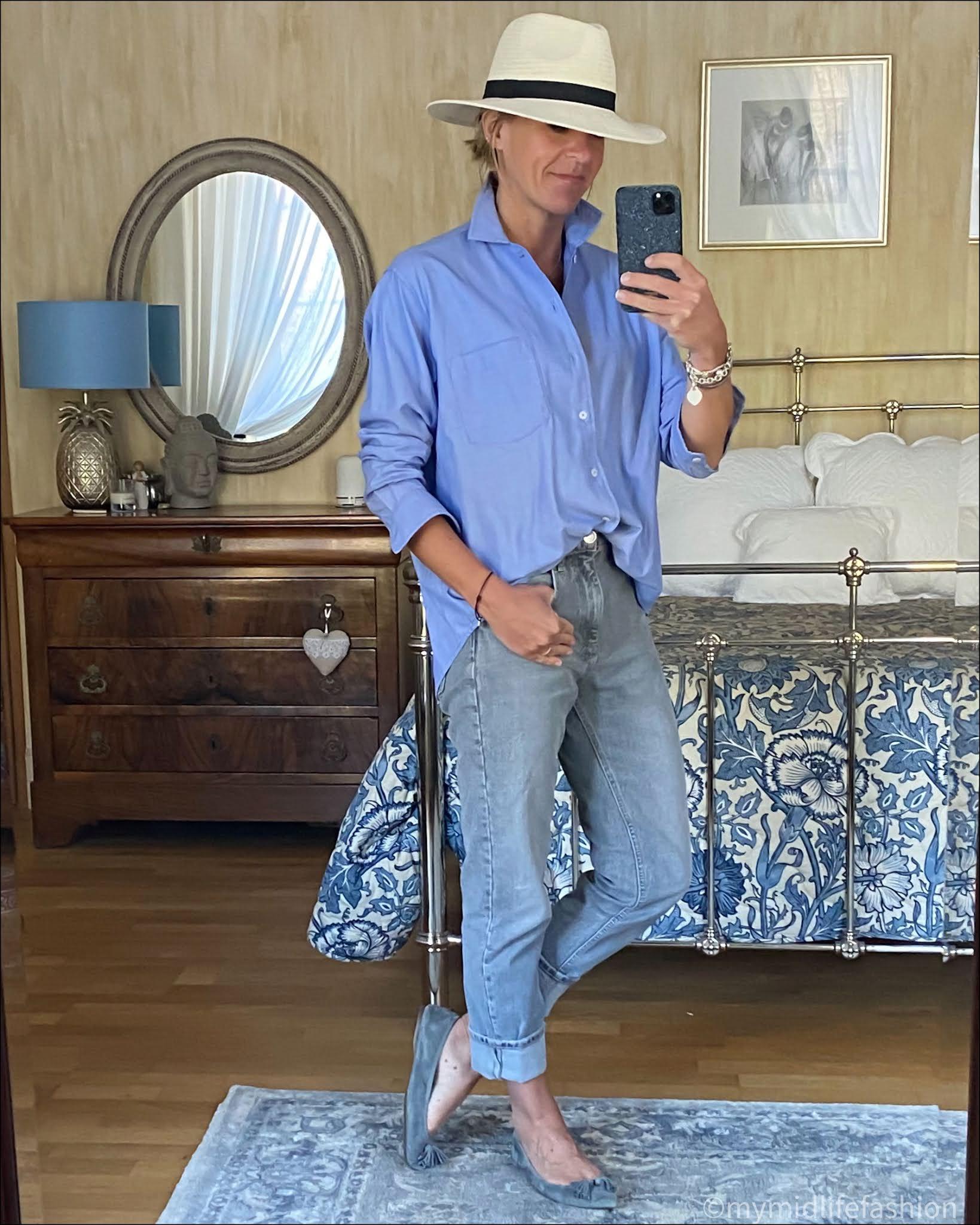 my midlife fashion, zara Panama hat, zara boyfriend shirt, zara straight legged jeans, j crew suede tassel ballet flats