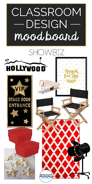Classroom decorations for a Hollywood Showbiz theme