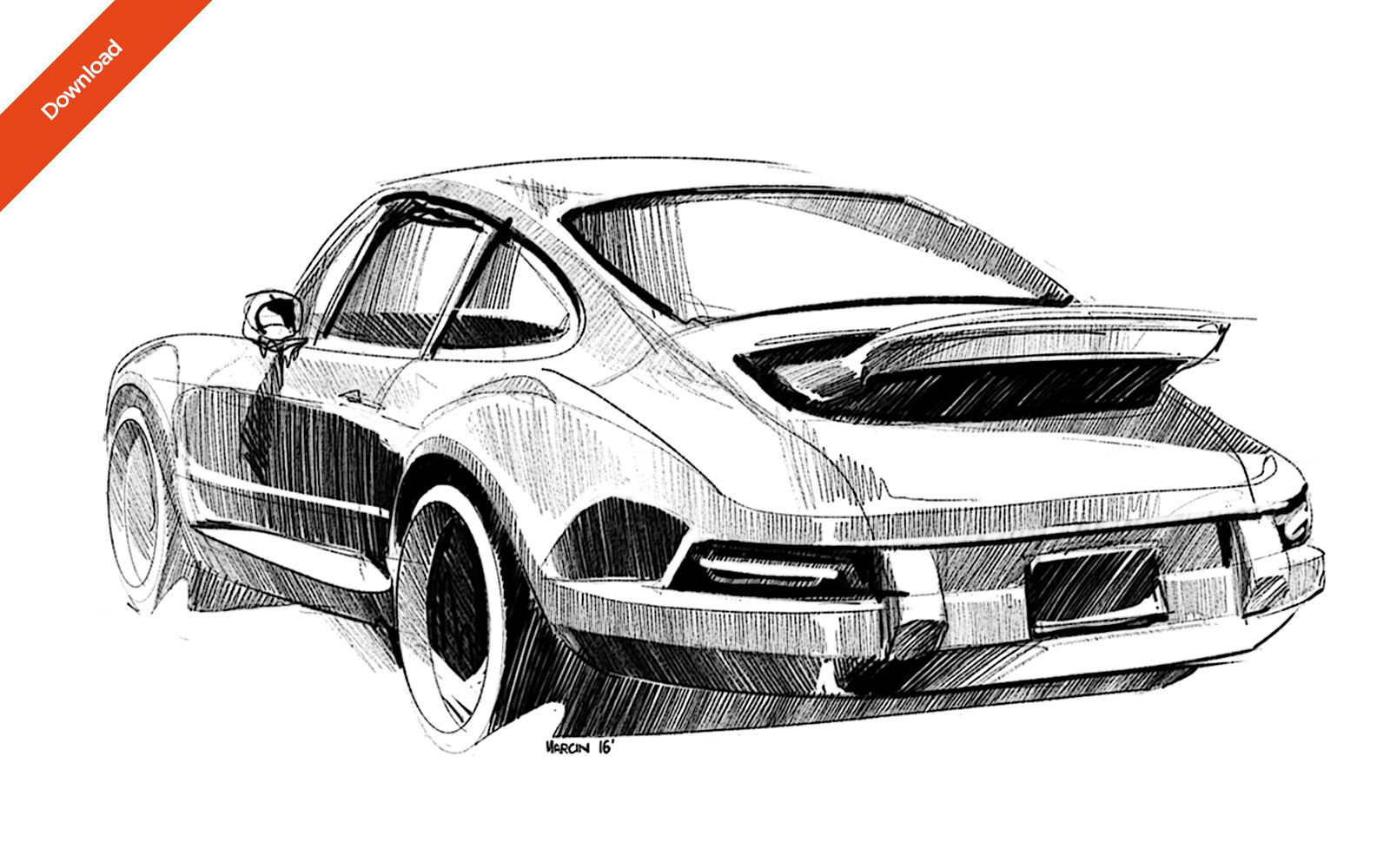 3 car sketch singer design porsche 911 classic