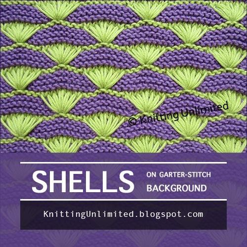 Shells on Garter-stitch Background
