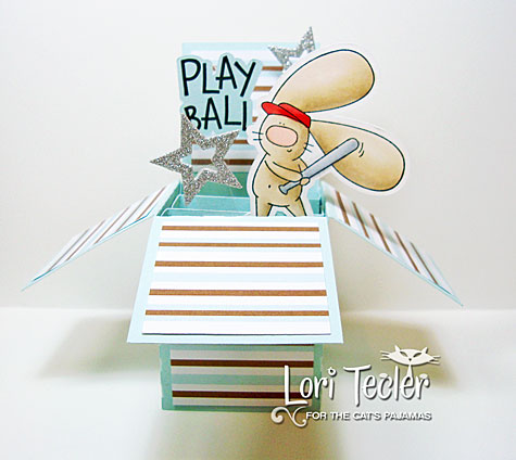 Play Ball card in a box-designed by Lori Tecler/Inking Aloud-stamps and dies from The Cat's Pajamas