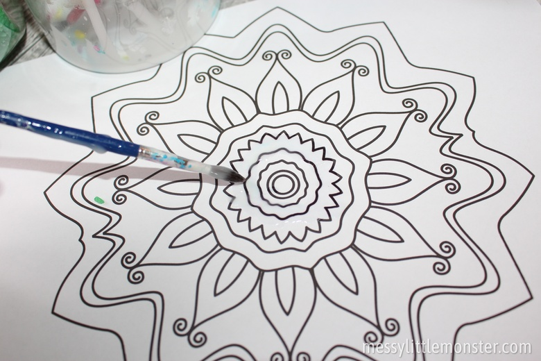 Rangoli patterns printable colouring page