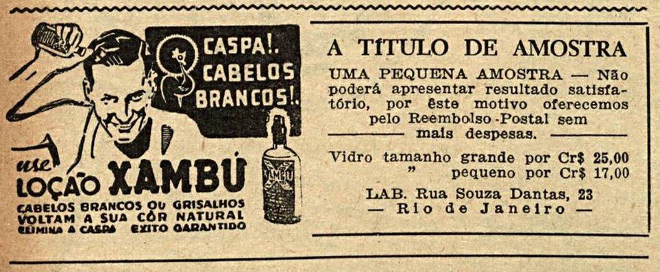 Propaganda antiga da Loção Xambú apresentada em 1949