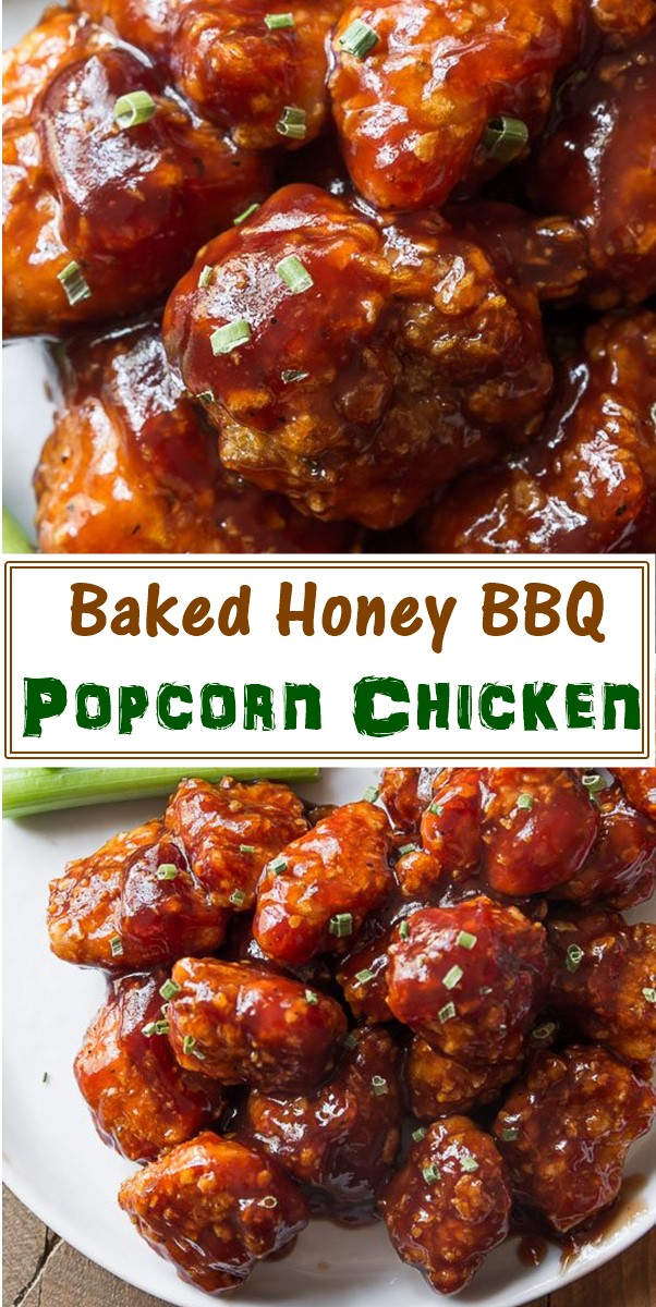Baked Honey BBQ Popcorn Chicken #chickenrecipes