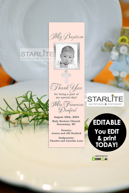 Starlite printables invitations stationery editable baptism photo diy do it yourself instant download baptism bookmarks will allow you to edit the personalized areas and insert your own childs photo solutioingenieria Images
