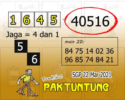 Syair SGP Senin 22 Maret 2021 -
