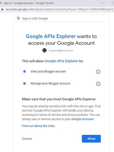 Google API Sign In