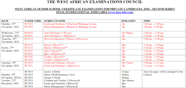 WAEC GCE 2020 Timetable | Aug/Sept. 2nd Series [PDF Download]
