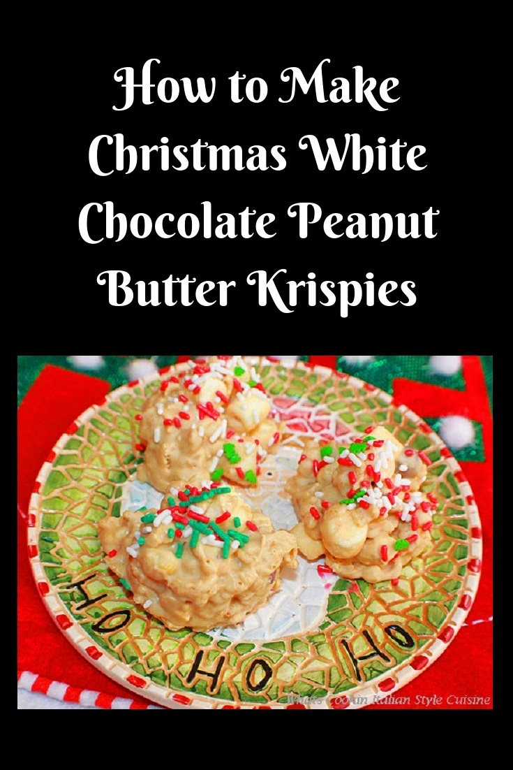 these are a festive white chocolate peanuts, marshmallow krispie treat