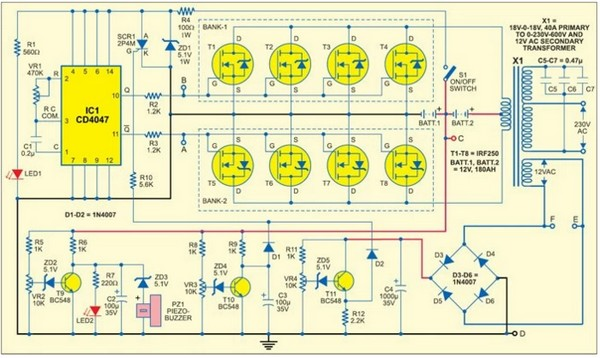 Circuit Schematic 1000 Watt Sine Wave Inverter using 4047 IC and IRF250 MOSFETs  Electronic Index