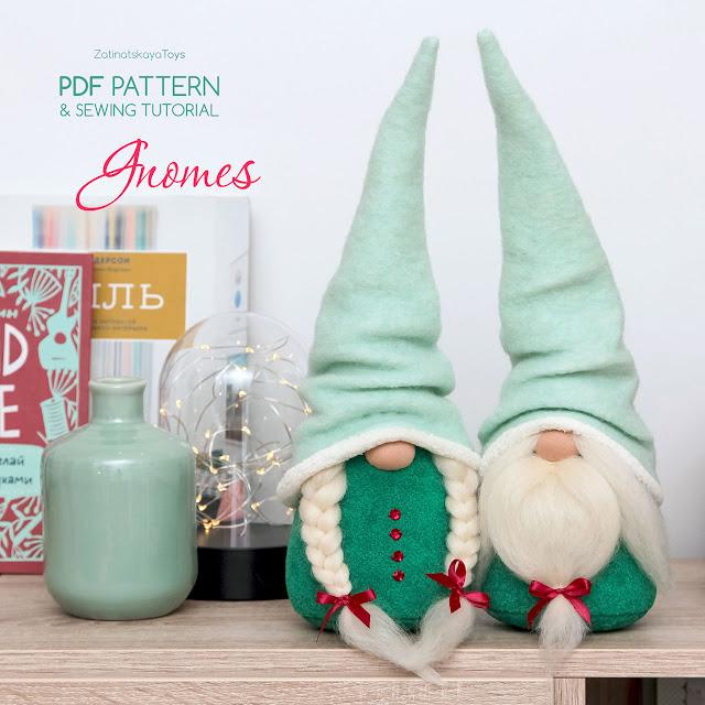 Christmas gnomes created by sewing patterns of Zatinatskaya