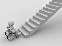 3-d white stick figure in a wheelchair at the bottom of a flight of stairs