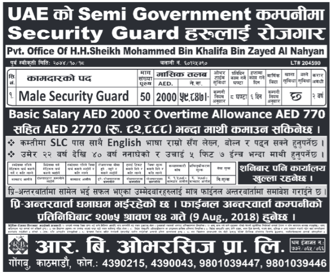 Jobs in UAE for Nepali, Salary Rs 59,847
