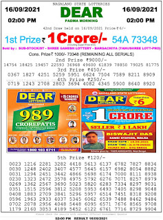 Nagaland State Lottery Result today 2pm