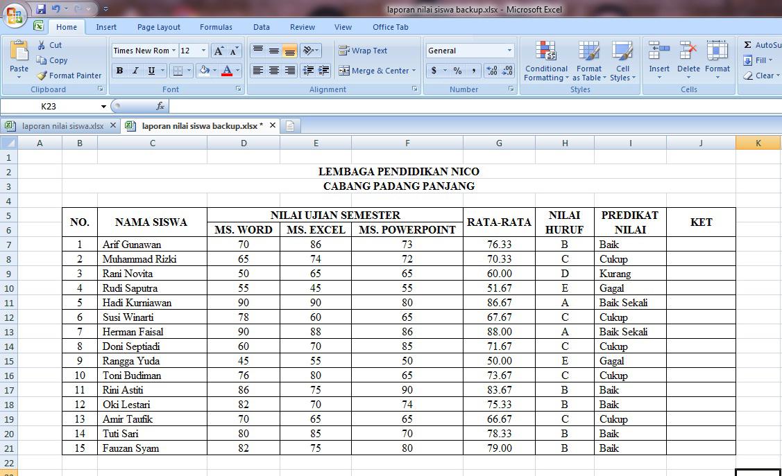 tutorial, cara, membuat, laporan, nilai, siswa, rumus, microsoft, excel, rata, if, average