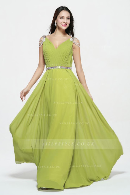 Sleeveless Beading V Neck Long Chiffon Junior Prom Dress