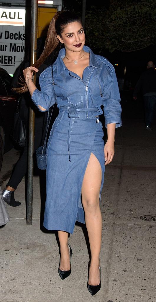 Actress Priyanka Chopra Long Legs Stills In Blue Dress