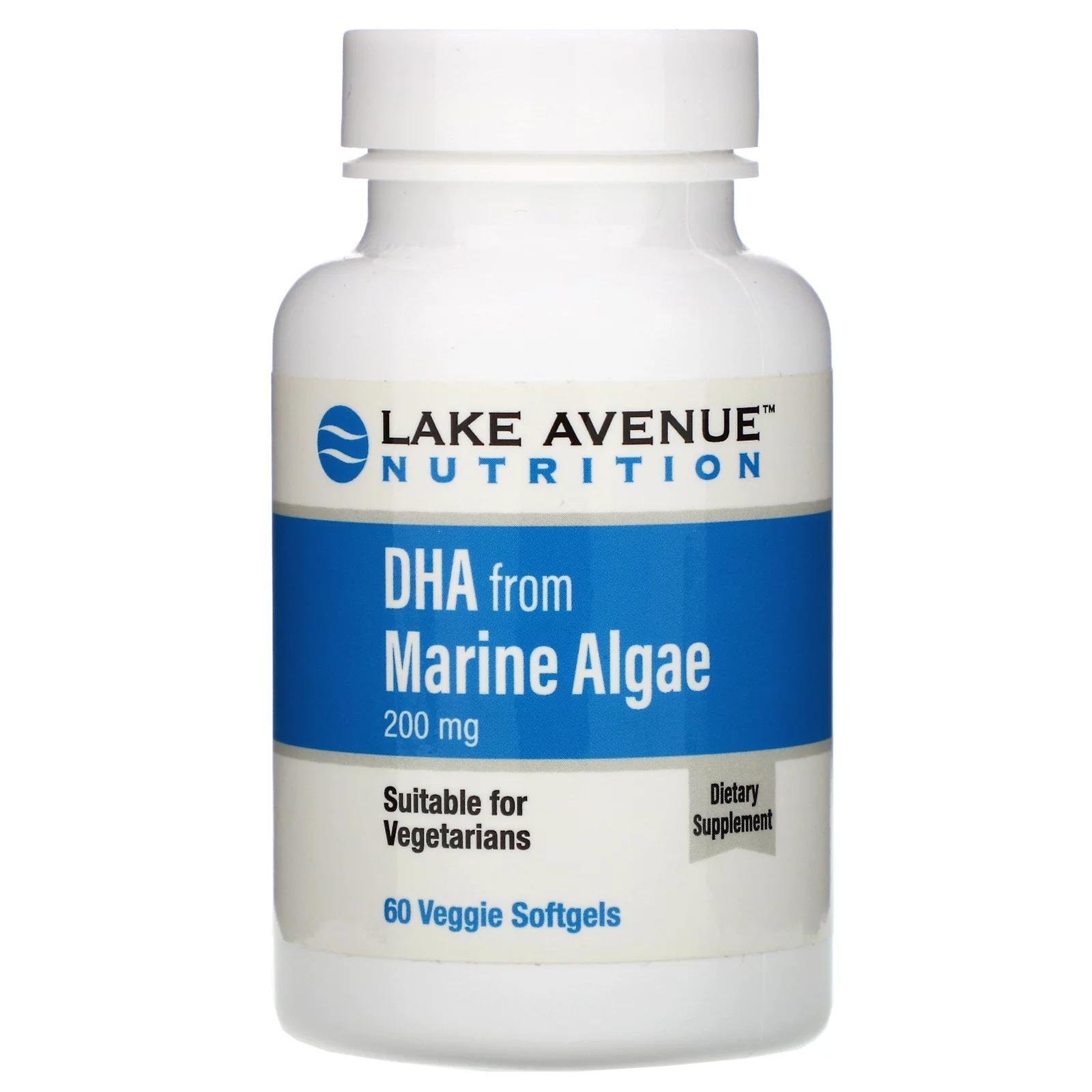 Lake Avenue Nutrition, ДГК из морских водорослей, растительные омега, 200 мг, 60 растительных мягких таблеток