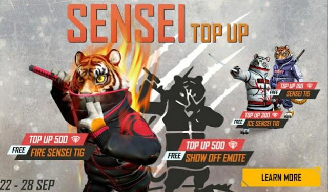 Sensei Top-up Free Fire Redeem Code Today India Server