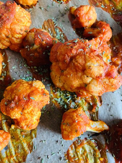 Gebackener Blumenkohl Rezept glutenfrei vegan Tomaten pikant schnelles Rezept einfach leicht
